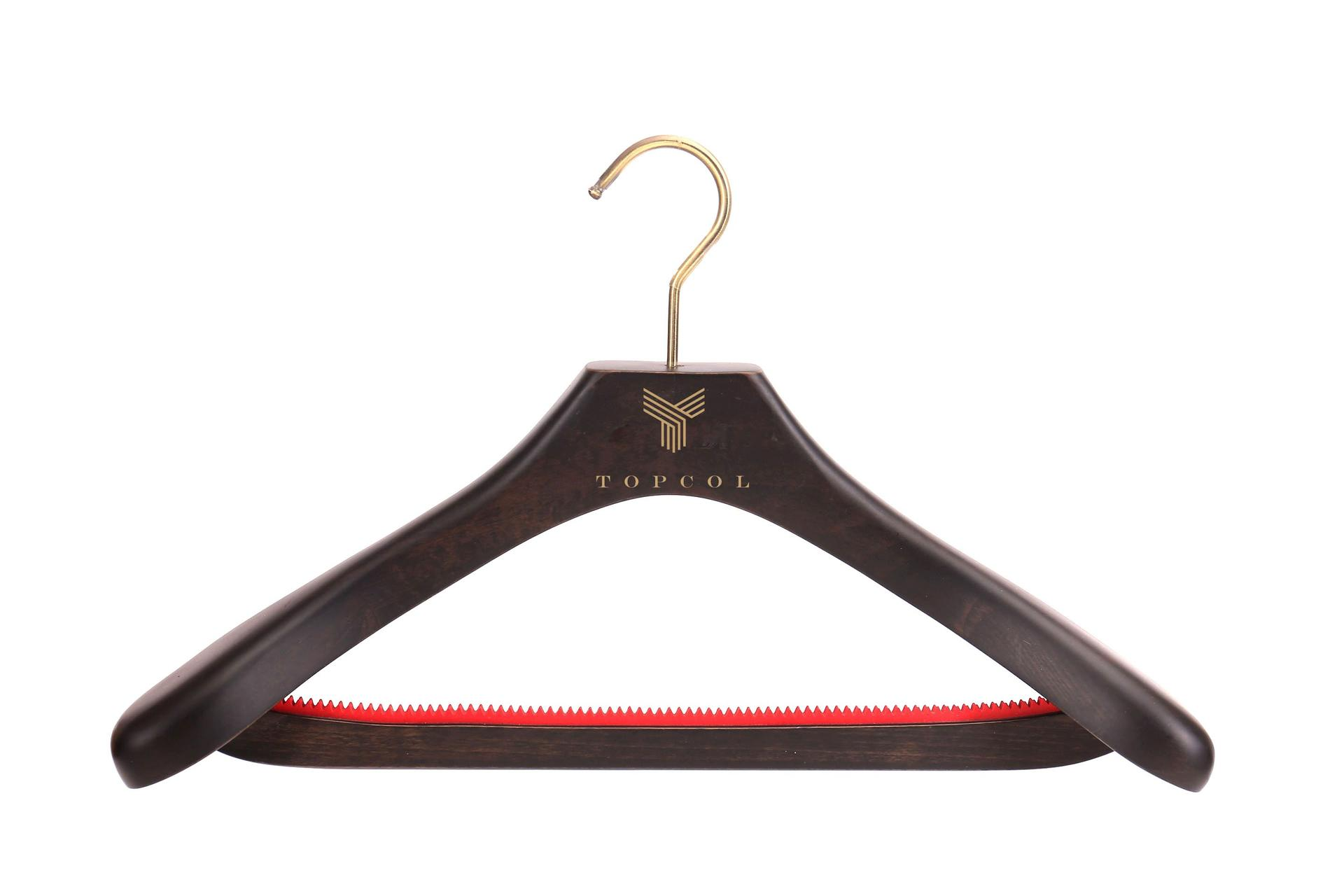 Luxury Wood Hanger for Garment with Customized logo dack brown