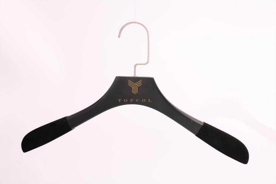 Wood Hanger Flocked With Velvet shoulders