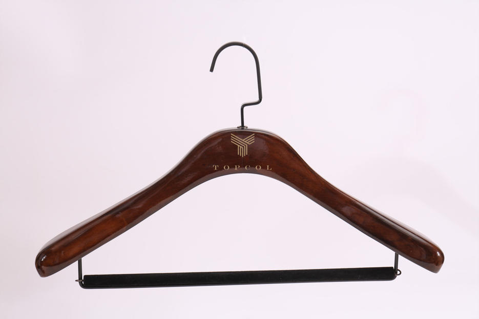 Deluxe Wood Clothes Hanger with bar and Custom Logo