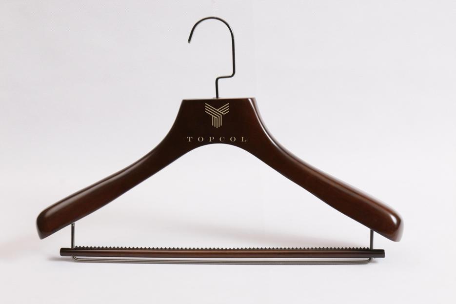 Men Luxury Coat Wooden Hanger with anti-wood bar
