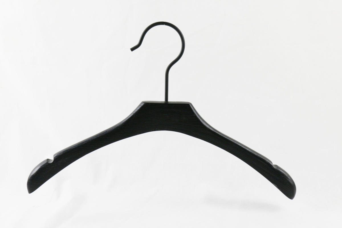 Black garment hanger with anti-rust clips