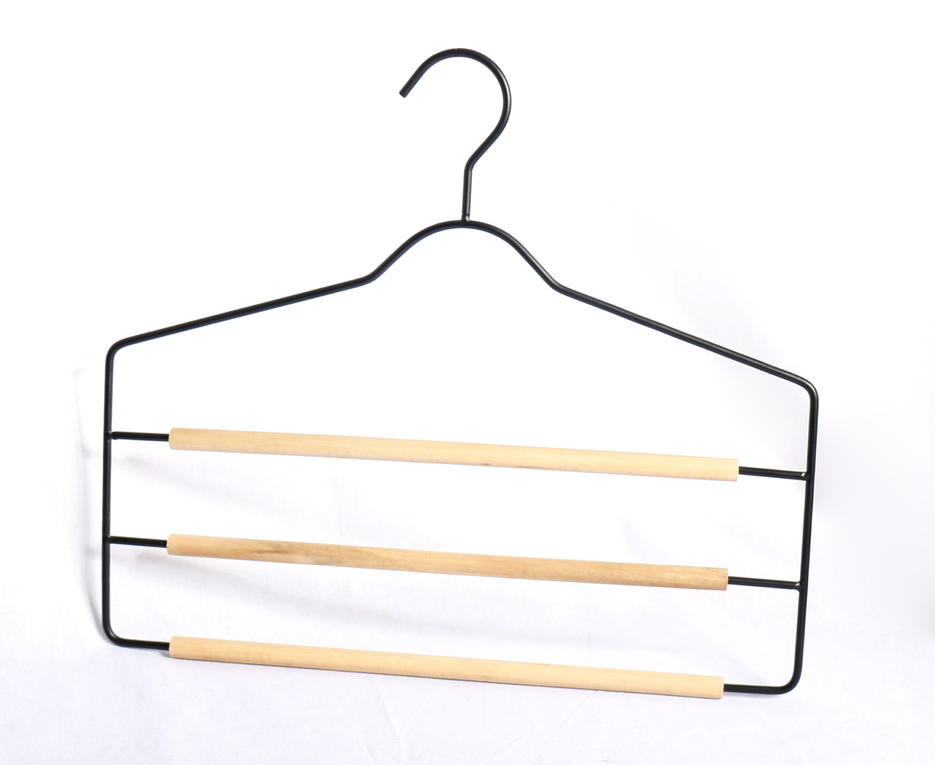 Metal Hanger Black Powder Coated with 3-layer wood bar for pants