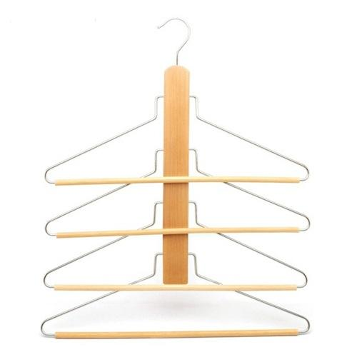Luxury Customize Space Saving Multi Layer Wooden Trousers Hangers