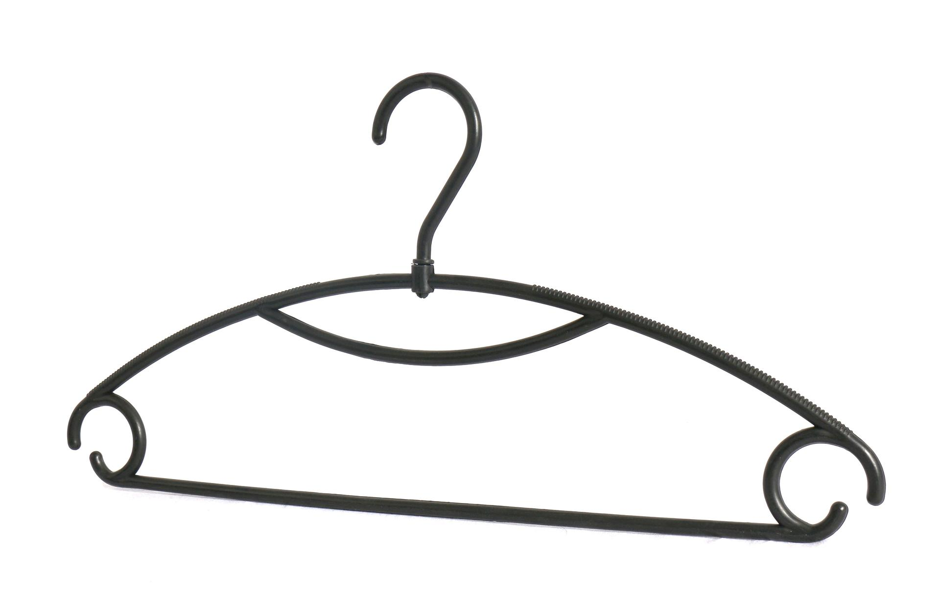 Black Plastic Clothing Hanger for Supermarket