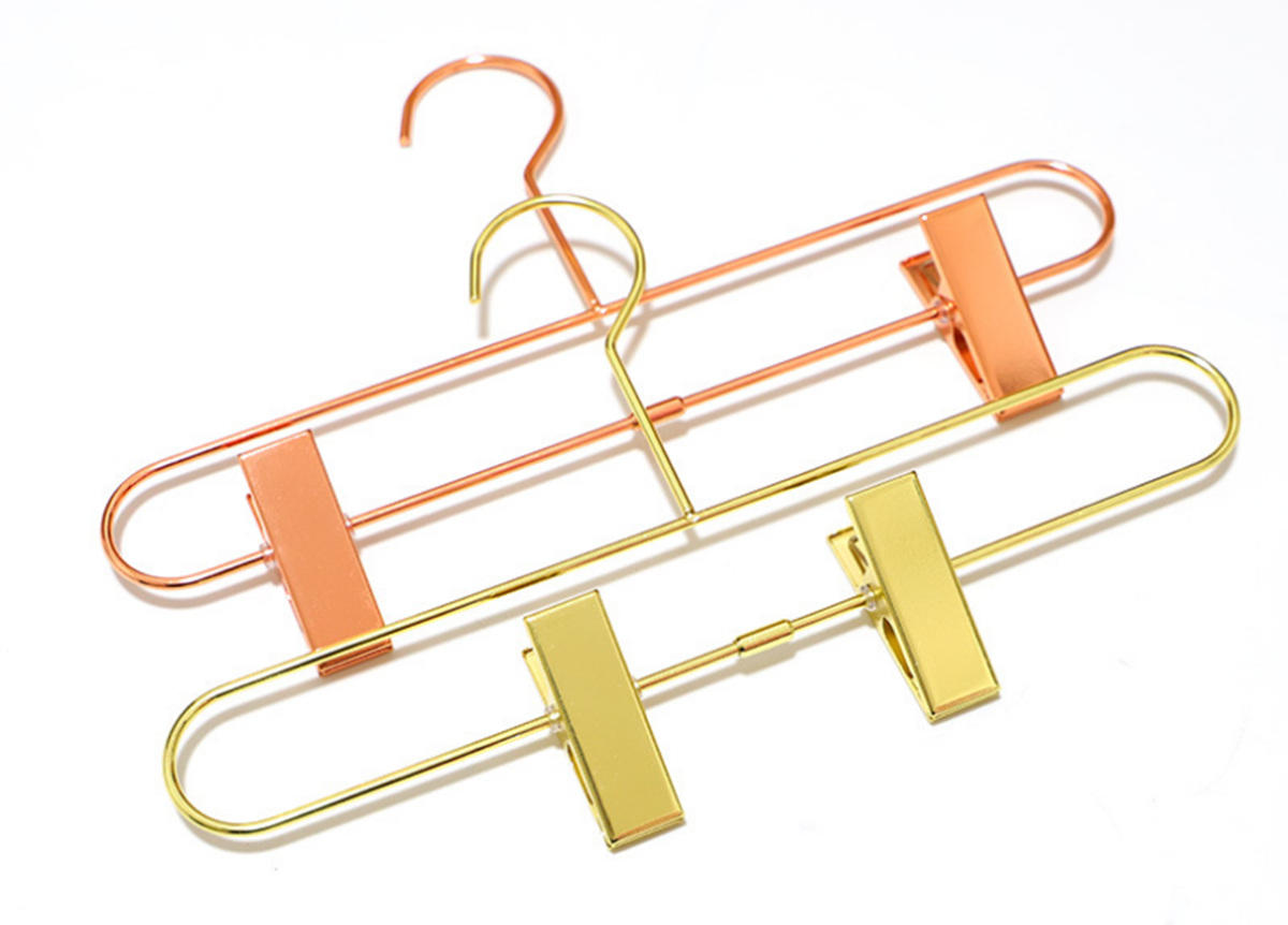 shiny copper metal gold pant hanger with clips