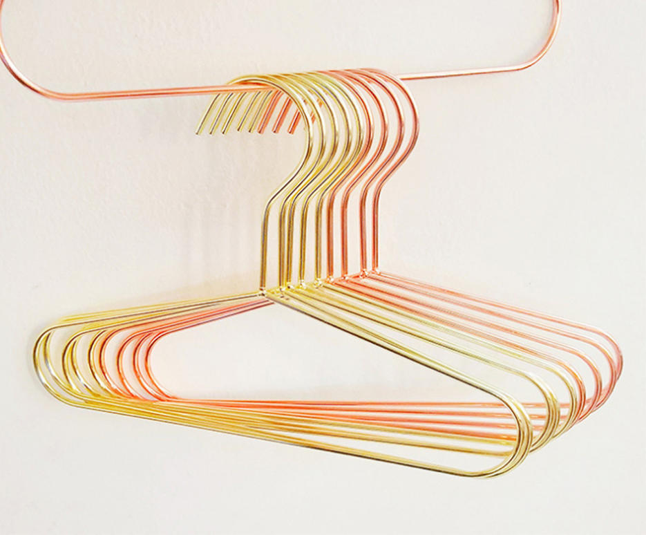 Children Rose Gold Copper Shiny Kids Metal Wire Top Clothes Hangers for Shirts Coat Storage & Display